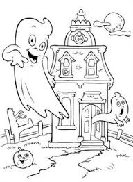 Small Picture printable coloring page for halloween of a skeleton in a haunted