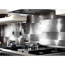 Stainless Steel Backsplash Kitchen Peel And Stick Backsplash Tiles For Kitchen 3 X 6 Brushed