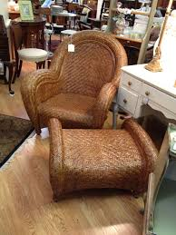 Pottery Barn Malabar Chair Rattan and Ottoman; however, mine has off white seat  cushion