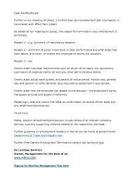 Editable Job Termination Letter To Employer Dismissal Sample ...
