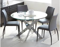 ibiza round gl and chrome dining table 47 chrome