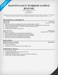 Maintenance Worker Resume Sample (resumecompanion) Resume - sample resume  skills section