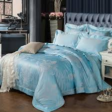 elegant bohemian pattern ice blue linens bedding set silk cotton jacquard fabric queen king size duvet cover set pillow shams in bedding sets from home