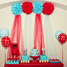 Karas Party Ideas Red And Turquoise Elmo Party Sesame Street