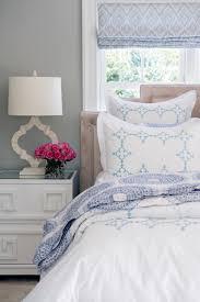 white and blue quatrefoil duvet and shams