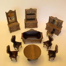 dolls furniture set. Antique Dollhouse Furniture Set In Wood And Leather, With Paper Design Simulating Carving. Dolls B