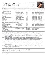 Sample Resume: Resume Aaron Curry Lighting Designer