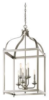 kichler 42568ni larkin large 6 lamp brushed nickel foyer lighting pendant loading zoom