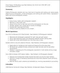 Resume Templates: Photography Assistant