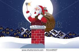 Santa Claus taking a Christmas selfie as he's about to go down the chimney  to deliver