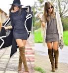 Что носят с коричневыми ботфортами