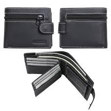 black mens leather credit card holder bifold wallet genuine zipper coin purse