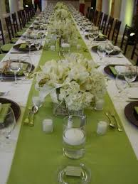 SIMPLY ELEGANT LONG TABLE SETTING MINT GREEN TABLE RUNNERS WITH FRESH WHITE  FRESH FLORAL ARRANGEMENTS,