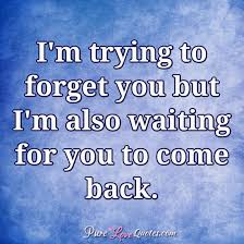 Forget Love Quotes Amazing I'm Trying To Forget You But I'm Also Waiting For You To Come Back