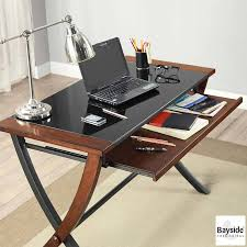 bayside furnishings desk with tempered glass top keyboard tray
