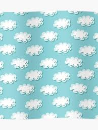 Simple Clouds Pattern Seamless Cute Background Kids Wallpaper Poster