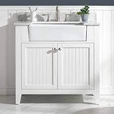 Luca Kitchen Bath Lc36vww Balboa 36 Single Bathroom Vanity Set In Pure White With Carrara Marble Countertop And Farmhouse Sink Amazon Com