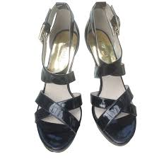 michael kors sandals heels patent leather black ref 44335