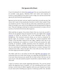 Pet Iguana Info Sheet
