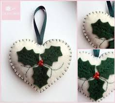 Handmade Felt Christmas Decorations Holly Hearts (this listing is for 3  hearts) These tree