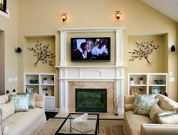 Brown Marble Fireplace Plus White Mantel And Shelf Combined With Tv Above  Placed On The Cream ...