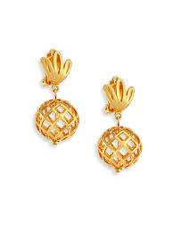 lele sadoughi pineapple clip on earrings gold women s