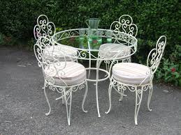 white iron outdoor furniture. Vintage White Wrought Iron Outdoor Table And Padded Chairs, Cool Deck Chairs Designs Furniture I