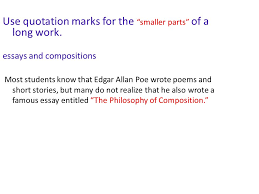 using underlining and quotation marks ppt video online  use quotation marks for the smaller parts of a long work