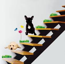 2 dogs wall stickers flower erfly on walls