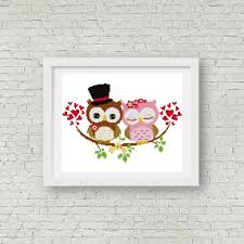 Owl Cross Stitch Pattern Best Gift For Wedding Singapore Cross Stitch Pattern For Wedding Couple