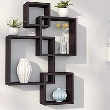 4 cube intersecting wall shelves