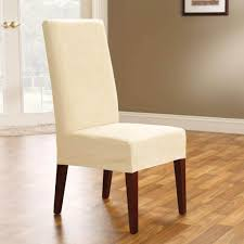 simple cream short dining room chair cover