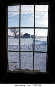 looking out door. Looking Out Through Door Window To Snow Covered Scene In Small Rural Village Of Forget Saskatchewan