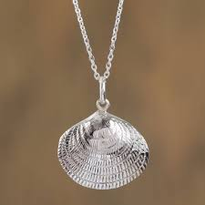 sterling silver seashell pendant necklace from mexico mediterranean shell
