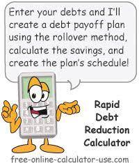 Rapid Debt Repayment Plan Rapid Debt Reduction Calculator With Amazing Rollover Method Debt