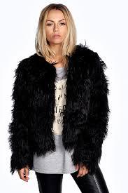 black fur jackets boohoo aimee gy faux fur coat