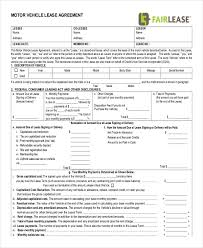 lease contract template sample vehicle lease agreement