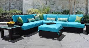 image black wicker outdoor furniture. Discount Modern Outdoor Furniture Set In Lovely Bright Blue Pads Black Wicker Sofa Image P