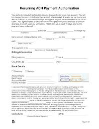 Automatic Withdrawal Form Template Free Recurring Ach Payment Authorization Form Word Pdf