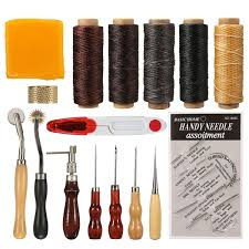 16pcs tools kit leather stitching tool sewing stamping hand set kits leather craft banggood com