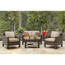 outdoor furniture home depot. Hampton Bay Beverly 4-Piece Patio Deep Seating Set With Beige Cushions Outdoor Furniture Home Depot