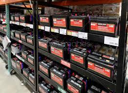 kirkland brand car batteries on shelves at costco whole membership warehouse british columbia canada 2017