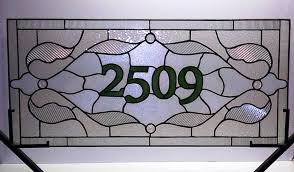custom made stained glass window panel traditional design with house numbers am 37
