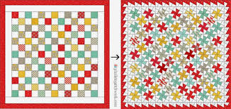 from Pixels to Patchwork: Baby Jane Twister Quilt & The first quilt top is made out of 85 printed 5
