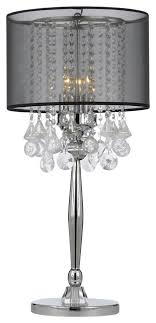 Silver Mist 3-Light Chrome Crystal Table Lamp With Black Shade ...