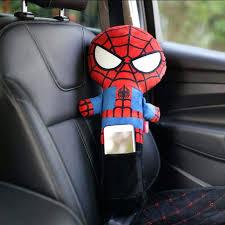 spiderman car seat baby kids cartoon iron man seat belt cover shoulder toy pillow children car