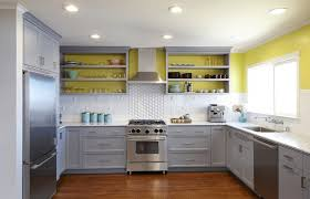 white cabinets with yellow accent acrylic chairs reclaim gray wood