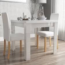 table 2 chairs. vivienne fliptop white gloss dining table + 2 pu leather chairs