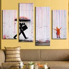 Paintings For Living Room Walls Aliexpresscom Buy 4 Pictures Banksy Art Colorful Rain Oil