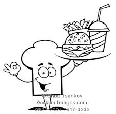 fast food clipart black and white. Simple White Clipart Image Of A Chef Hat Holding A Tray Fast Food In Black And White To And